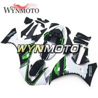 yzf r1 kaplama kiti yeşil toptan satış-Yeşil Siyah Beyaz stil Yamaha YZF 1000 R1 2009 2010 2011 Motosiklet Kaportaları ABS Plastik Enjeksiyon motosiklet Kitleri r1 09 10 11 kaputlar