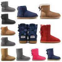pele de botas de neve de inverno preto venda por atacado-ugg boots 2019 UGG designer de moda mulheres tornozelo inverno Austrália botas de castanha alto Bailey Bowknot trabalho das mulheres de neve na altura do joelho alta botas de pele