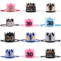 Wholesale children birthday crown resale online - 1 Adult children Birthday Party Hats Girls kawaii Princess Crown Caps Women Birthday Cake Caps Photo Props Party Decor