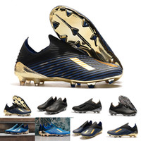 Wholesale soccer shoes sizes 39 resale online - 2019 New Mens Copa FG AG x Hot Slip On Champagne Black Blue Soccer Football Shoes Boots Scarpe Calcio Cheap Cleats Size