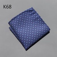 ingrosso quadrati di tasca navy-Fazzoletto Ikepeibao Blu Navy Dots Hanky Men Tie Jacquard Intrecciato a fazzoletto