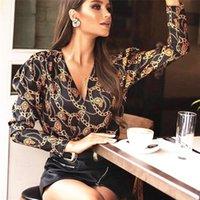 camisas casuais soltas venda por atacado-2019 Recentemente Moda Casual Mulheres luva longa das senhoras t-shirt Tops Imprimir profunda V-Neck solta pulôver Tops