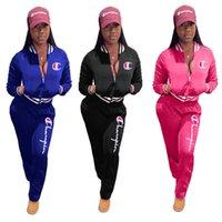 baseball tracksuit 도매-여성 챔피언스 편지 운동복 긴 소매 지퍼 재킷 스웨터 + 바지 레깅스 2 피스 정장 브랜드 코트 의상 야구 의류 (78)