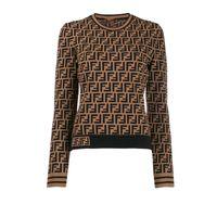 blusas de moda al por mayor-Fends mujeres de la marca jersey de punto suéter de manga larga camisa blusas Prendas de punto bajo del invierno otoño FF Carta con capucha de moda Outwear C101607