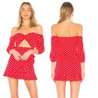 Wholesale beach style evening dresses resale online - Women Summer Boho Short Mini Dress Evening Party Beach Polka Dot Strapless Dresses Sundress Summer style