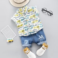 Wholesale baby cars outfit resale online - New Summer Baby Boys Clothes Set Kids Cartoon Cars Shirt Jeans Shorts Boy Set Children Boy Outfits