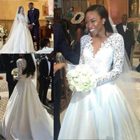 Wholesale empire neck elastic wedding dresses online - Classic Lace Long Sleeves A Line Wedding Dresses African Arabic Satin Wedding Gown Sexy V Neck bridal gown Church Robe de soriee