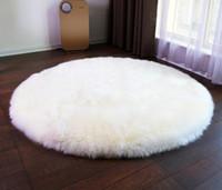 wohnzimmer matten großhandel-Runde lange Fell Teppich lange Plüsch Teppiche für Schlafzimmer Hochflor Teppich moderne Matte Wohnzimmer Dekor