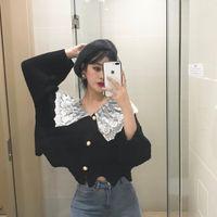 8f0a330a553292 girl black white sweater 2019 - Empfehlen Sie Cute Girl Lace Patchwork  Schwarz Weiß Strickjacke Frauen