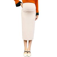 Wholesale pure teas for sale - Group buy Pregnant Women Half Length Skirt Mid Long Knitted Buttock Skirt for Pregnant Women Large Sized Buttock Skirt Pure Color
