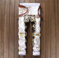 jeans stretch branco venda por atacado-New Impresso Skinny Motociclista Jeans Homens Estiramento Hip Hop Fino Mens Denim Calça Jeans Casual Street Moda Calças Basculador Calças Masculinas Branco