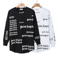 büyük boy siyah beyaz tişörtler toptan satış-2019 Palmiye Melekler T-shirt Beyaz Siyah Harfler Baskı Yaz Tees Erkek Kadın Boy pamuk Tee Gömlek Hip Hop Sokak Tops