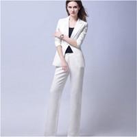bussiness convient aux femmes achat en gros de-Blanc Tendance Bussiness Formelle Femmes Élégantes Costume Ensemble Blazers Et Pantalons Costumes De Bureau Dames Pantalons Costumes Pantalons Costumes