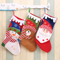 Wholesale christmas ornament animals resale online - Colorful Christmas Stockings Decor Ornament Party tree Decor Santa Christmas Candy Socks Bags Xmas Gifts Bag hanging pendant FFA3123