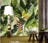 duvarlar için büyük çiçek duvar kağıdı toptan satış-Muz yaprağı duvar kağıdı fotoğraf duvar resmi gree yapraklar çiçek oturma odası kanepe arka plan duvar dekoratif büyük boy için duvar resimleri