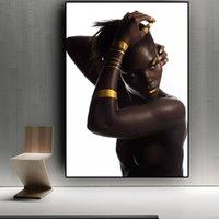 art mural salon africain achat en gros de-Femme nue africaine or noire peinture à l'huile sur toile affiches et posters scandinaves et impressions sur Cuadros Wall Art image pour salon