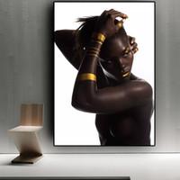 mulheres africanas da pintura a óleo venda por atacado-Preto Ouro Mulher Nua Africano Pintura A Óleo sobre Tela Escandinavo Posters e Prints Cuadros Wall Art Imagem para sala de estar