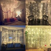 hochzeit dekor beleuchtung großhandel-2x2 / 3x3 / 6x3 m führte Eiszapfenvorhang Fee-Lichterkette Lichter 300 LED Weihnachtslicht für Hochzeit Terrasse Fenster Parteidekor führte