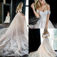Wholesale off white simple dress resale online - Pale Pink Off The Shoulder Lace Wedding Dresses Tulle Appliques Beaded A Line Bridal Wedding Gowns robes de mariée