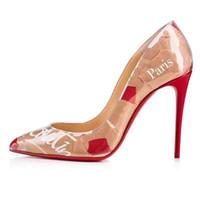 vestido tops al por mayor-Tacones de moda Remaches TOP Diseñadores de lujo Parte inferior inferior roja Tacones altos Tacón Negro Plata Bombas de boda Vestido de mujer Zapatos de mujer con cajas