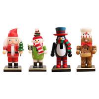 Wholesale santa puppets for sale - Group buy Christmas Wooden Nutcracker Figurines Xmas Desktop Decoration Ornaments Santa Snowman Puppet Gift Christmas Decorations For Home