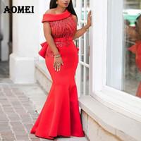 elegantes vestidos de noche formal al por mayor-Vestido de las mujeres Maxi Mermaid Night Sequined Party Wear Evening Red Classy Formal Vestidos Un hombro Glitter Vestidos Ropa de verano