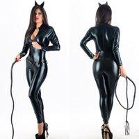 ingrosso catsuits di tuta-Tuta in pelle delle donne sexy Catsuit del gatto nero manica lunga Zentai Body effetto bagnato ballo del Palo Abbigliamento lucido Zipper Faux