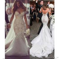 vestido de noiva de noiva sexy sereia venda por atacado-Sexy Lace Sereia Vestidos de Casamento 2019 Apliques de Querida Fora Do Ombro Blackless Plus Size Moda Vestidos de Noiva