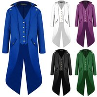 tuxedos für männer plus männer großhandel-Männer mittelalterlichen Vintage Smoking viktorianischen Kostüm Frack Gothic Steampunk Trenchcoat Kleid Outfit Mantel Uniform Plus Size