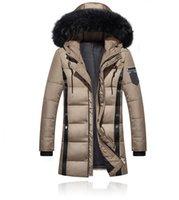 chaqueta larga acolchada hombre al por mayor-Parkas engrosamiento de los hombres chaqueta de invierno de 2018 los hombres de las capas de abrigo masculino cuello de piel Casual algodón largo Wadded hombres capa encapuchada