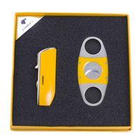 isqueiro caixa de charutos venda por atacado-Chegada nova luxo de alta qualidade conjunto de charuto amarelo com isqueiro e cortador de charutos W / caixa de presente