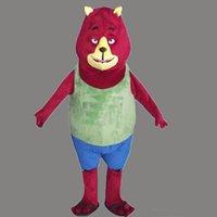 traje de urso vermelho venda por atacado-Traje novo bonito da mascote do urso vermelho para o festival / Hallooween / Natal