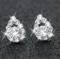 akşam gümüş takılar toptan satış-Gümüş Kaplama Rhinestone Elmas Küpe Gelin Takı Düğün Küpe Akşam Parti Takı Kadınlar Balo Güney kore'nin anti alerjik Yıldız