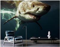 Wholesale shark decor resale online - WDBH custom photo mural d wallpaper Big shark underwater world background living room home decor d wall murals wallpaper for walls d