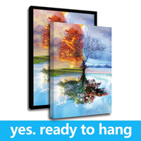 Wholesale hanging plate painting for sale - Group buy Framed Canvas Wall Art Four Seasons Tree Landscape Oil Painting On Canvas Print Painting Calligraphy For Home Decor Ready To Hang