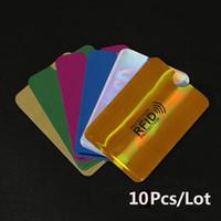 mangas de tarjetas de envío gratis al por mayor-10 unids Anti-Scan Card Sleeve Credit Card RFID Protector Protector Papel de aluminio anti-magnético Portátil Titular de la tarjeta bancaria 7 colores Envío gratis
