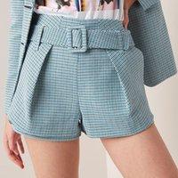mulheres joker calças venda por atacado-Novas mulheres moda Casual senhora cintura alta coringa shorts calças xadrez mulheres com cinto