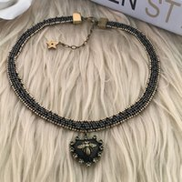 Wholesale Choker - designer jewelry heart pendant chokers bees beades necklaces classic old metal color for women hot fashion