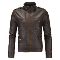 Wholesale retro motorcycle jacket for sale - Group buy Mens Jackets Leather Jacket Stand Collar Motorcycle Retro Jacket Long Sleeves Europe and America Outdoor Autumn and Winter Fashion Classic