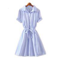 escritório desgaste verão senhoras venda por atacado-Escritório Verão Estilo Boho T Camisa Vestido Senhora Elegante Desgaste Listrado Azul Para Trabalhar Camisas Mulheres Vestidos Mini