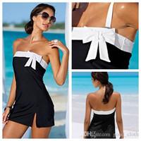 vestido de una pieza sexy de playa al por mayor-Bikini de baño de una pieza atractivo del vestido de fiesta de la playa de baño mujeres vestido Bownot beachwear atractivo Encubrimientos CNY1272