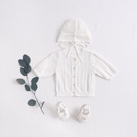 Wholesale air condition jacket resale online - 1626 Spring Summer New Sweet Pure Color Air Conditioning Shirt Seven sleeve Knitted Hollow Out Infant Girls Jacket With Cap