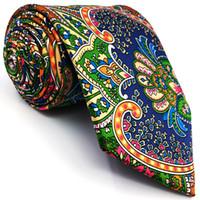 impressão de paisley tie venda por atacado-U31 Paisley Multicolor Vermelho Verde Amarelo Azul Mens Gravatas Gravatas 100% Impressão De Seda Artesanal Novo