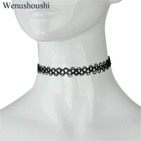 Wholesale black wire choker resale online - Japan Tattoo Harajuku black color wire chokers necklaces women girls gifts punk rock necklace drop ship ok fj150