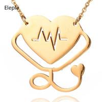 yeni stetoskop toptan satış-Onbir Yeni Moda Stetoskop Kalp Atışı Titanyum Çelik Kolye Kadın Yaratıcı Kalp Klavikula Parti Kolye Takı S-N140