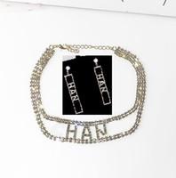 conjuntos de colar cheio venda por atacado-Designer de strass completo letra borla brincos colar conjuntos de jóias para as mulheres brinco 925 agulha de prata jóias presentes