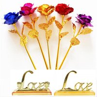 Wholesale foil christmas decorations for sale - Group buy 24k Gold Foil Plated Rose Artificial Long Stem Flower Creative Gifts for Lover Wedding Christmas Valentines Mothers Day Home Decoration