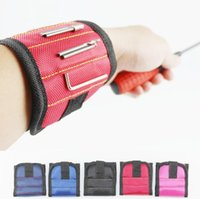 Wholesale nail hold resale online - Magnetic Wristband With Powerful Magnets Holding Screws Nails Bolts Drill Fasteners Scissors Screw Bag LJJO7003