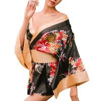 ingrosso costumi da kimono pigiami di lingerie-Kimono tradizionale giapponese stile femminile Robe costumi Yukata Pigiama Kimono costumi floreali da donna Gioco di ruolo Lingerie con perizoma