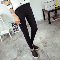 siyah beyaz çizgili tozluk pantolon toptan satış-Bivigaos Yeni Pantolon Bayan Dikey Stripes İnce Kalem Pantolon Sıska Yüksek Bel Dokuma Elastik Pantolon Tayt Kadınlar Siyah Beyaz